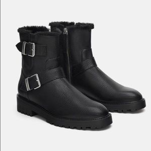 Zara Leather Ankle Biker Boots Fur Lined size 40